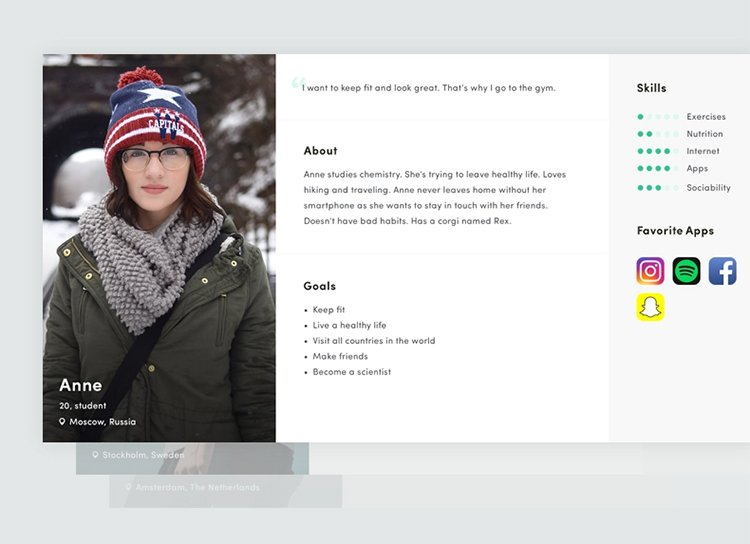Create a Buyer Persona, help female students get git fit, example.