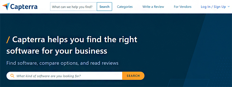 Conduct Research, Capterra website homepage.