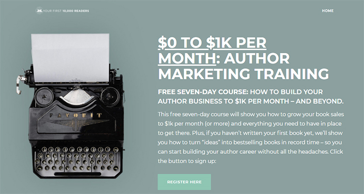 """Nick Stephenson's """"$0 to $1k Per Month"""" Landing Page example."""