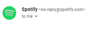 """Encourage Engagement, Spotify,""""no-reply"""" email address example."""