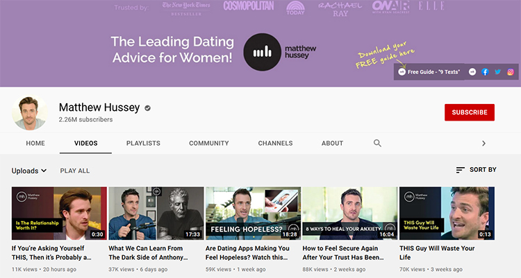 Develop a Content Marketing Strategy, Youtube channel homepage example.