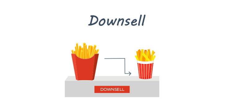 Add Downsells, Upsells, and Cross-Sells to Your Sales Funnel, downsell graphic.