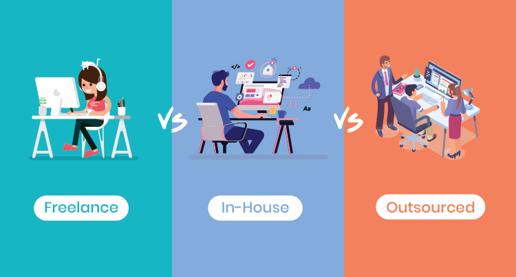 How To Hire a Lead Generation Specialist, Freelance vs. In-House vs. Outsourced options, graphic.