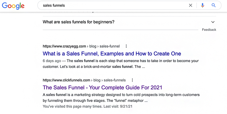 Strategies For B2B Lead Generation. SEO google search example.