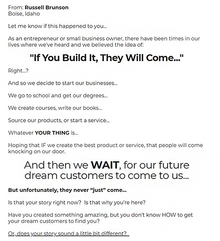 Strategies For B2B Lead Generation. Story, email example.