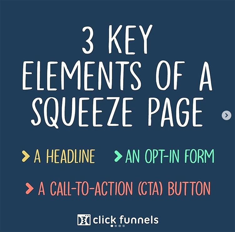 Create a Landing Page for Your Lead Magnet. 3 Key elements of a squeeze page graphic.