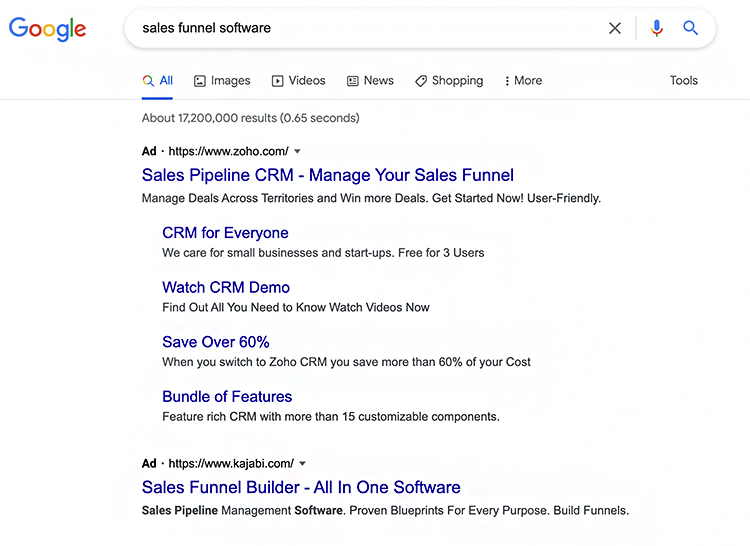 Google Ads example.