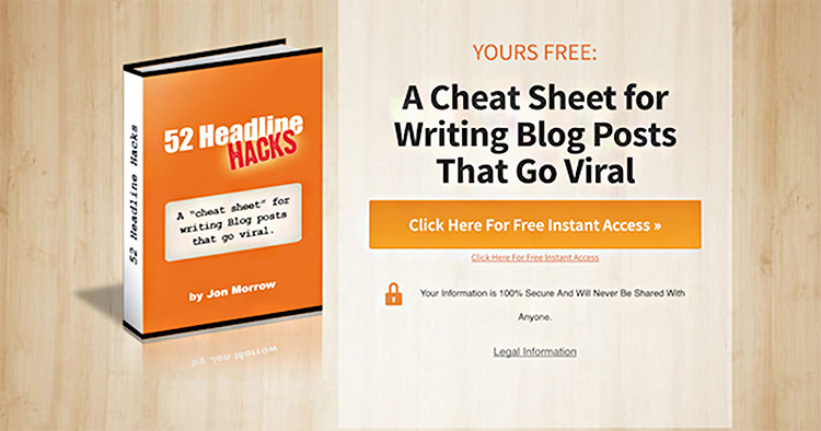 Cheat sheet, Free Gift example.