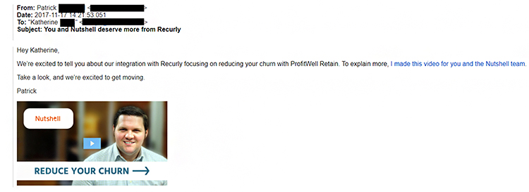 Cold Outreach, email example.
