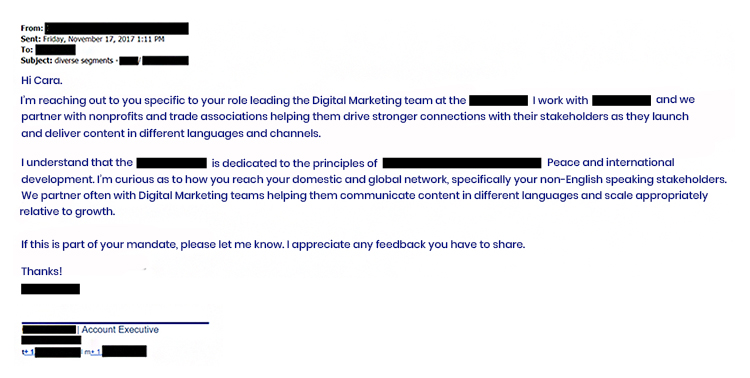 Cold Outreach, email copy example.