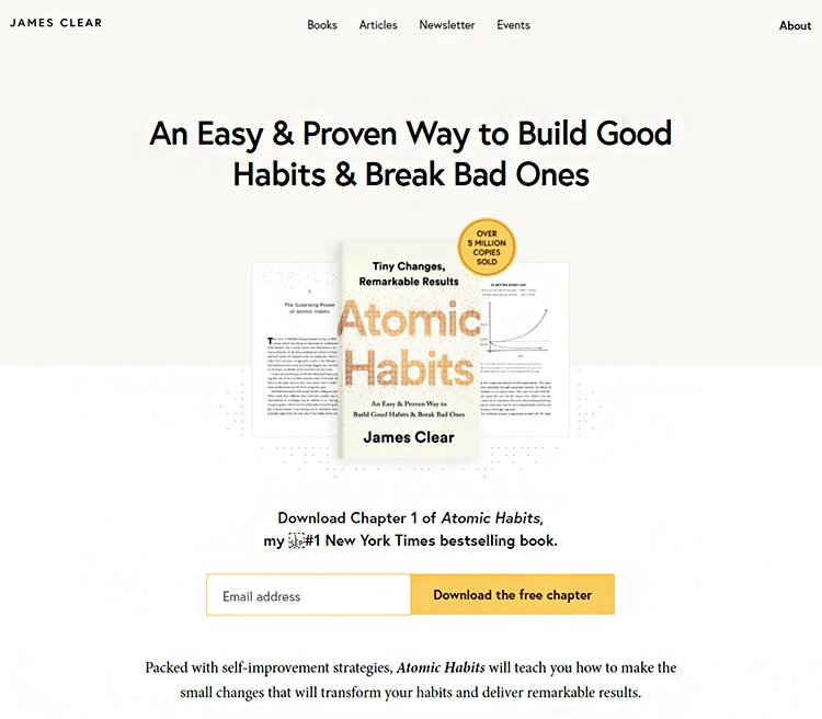 Lead Generation Examples That Work Like Crazy, James Clear example.