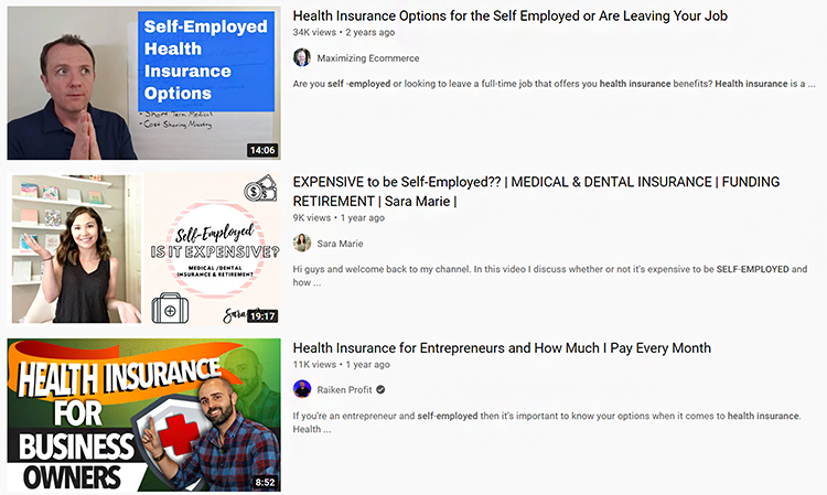 Educate People About Insurance on YouTube. Self employed search engine results, example.