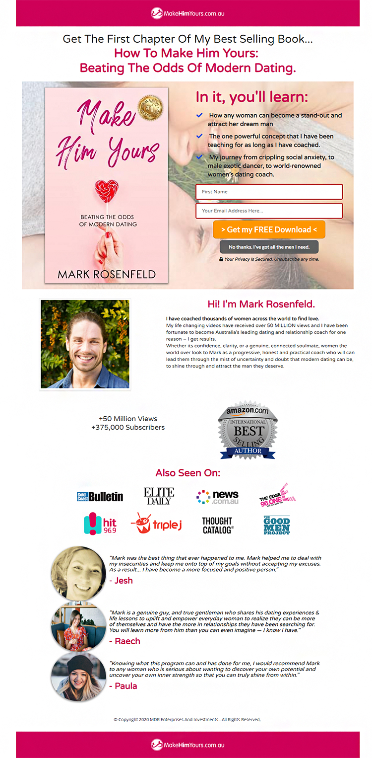 Lead Generation Examples That Work Like Crazy, Mark Rosenfeld example.