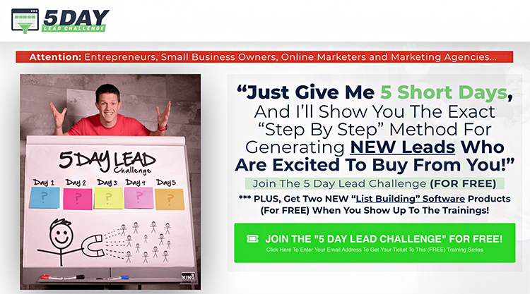 Create a Compelling (and Relevant) Sales Funnel, landing page example.