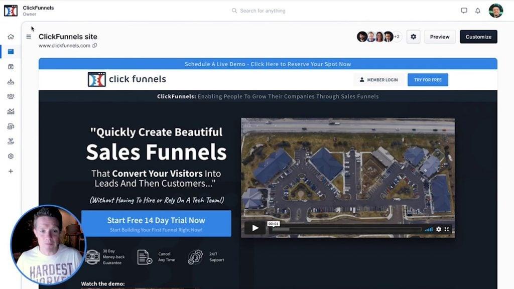 Clickfunnels 2.0 Dashboard